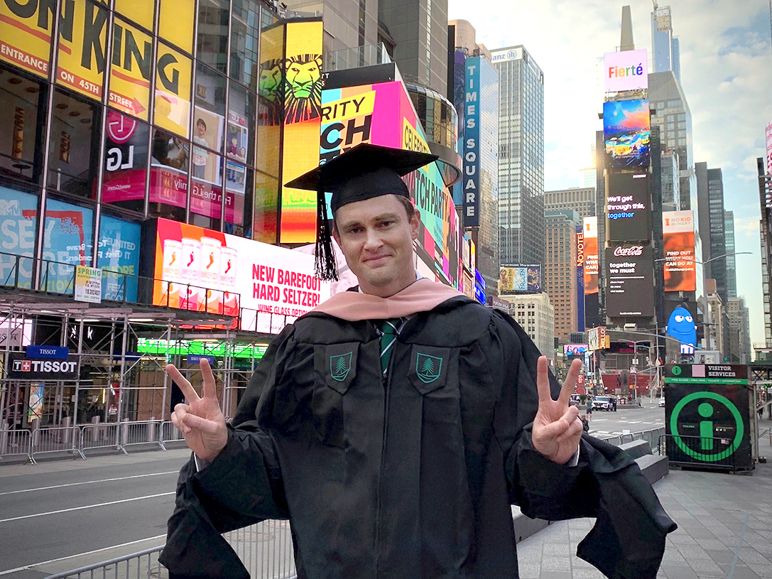 Daniel Wallingford MPH'20 shared in the regalia celebration from his hometown of New York City.